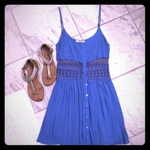 Periwinkle Button-Up Dress w/ Sheer mid-drift